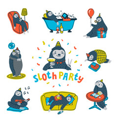 Animal party lazy sloth party cute sloths having vector