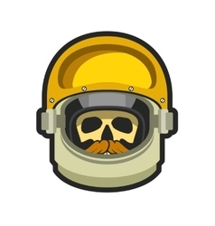 Astronaut helmet with a dead man vector