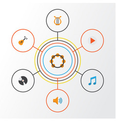 Audio flat icons set collection of dj button vector