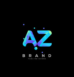 Az initial logo with colorful template vector