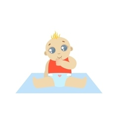 Baby In Red Thinking vector