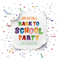 Back to school party poster vector image