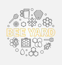 bee yard round in line style vector image