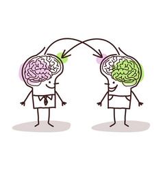 Big brain men exchanging ideas vector