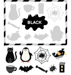 Black color cut elements and match them with vector