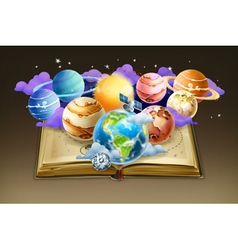 Book with planets background vector image