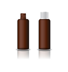Brown clear cosmetic round bottle with grooved lid vector