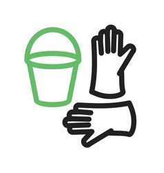 bucket and gloves vector image