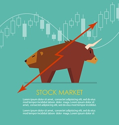 Bull and bear symbol of stock market with candle vector