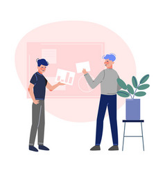 Business characters working and exchange thoughts vector
