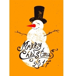 Calligraphic retro Christmas card with snowman vector