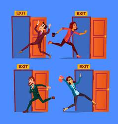 character evacuation to open door exit set vector image