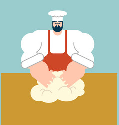 chef dough kneads baker cook vector image