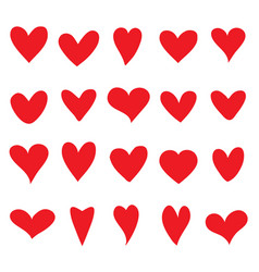 collection of red hearts for your design vector image