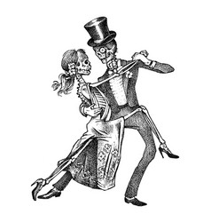 dancing skeletons halloween banner template day vector image