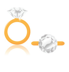 Diamond solitaire engagement ring vector