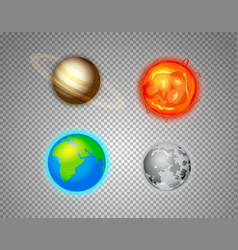 different sun system elements set isolated on vector image