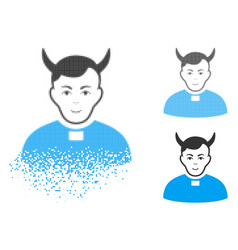 Disappearing pixel halftone devil priest icon with vector