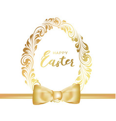 easter poster golden egg with white background vector image