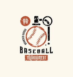 Emblem of campus baseball tournament vector