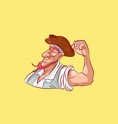 Emoji sticker seaman captain shows strength vector