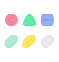 erasers various shapes and colors with texture vector image