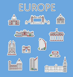 european traveling labels set in linear style vector image