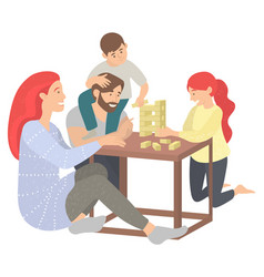 Family in evening playing jenga game players vector