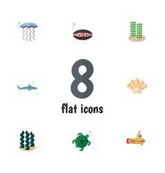 Flat icon nature set of alga medusa tortoise and vector