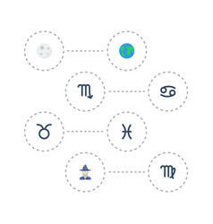 Flat icons earth planet zodiac sign lunar and vector