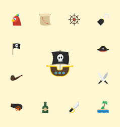 Flat icons sabre pirate hat vessel and other vector