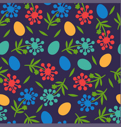 flower seamless pattern for happy easter day vector image