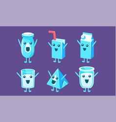 funny milk containers set milk packaging vector image
