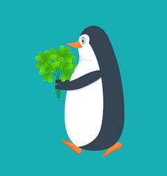 Funny penguin antarctic bird with clover bouqet vector