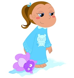 Girl with teddy vector