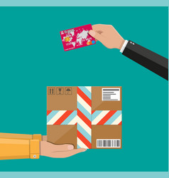 hands with postal cardboard box and bank card vector image