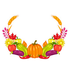 Harvest frame with fruits and vegetables vector
