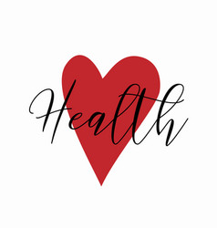 Health logo with heart silhouette isolated on vector
