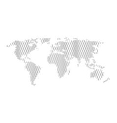 Hexagonal world map flat vector