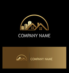 house building gold company logo vector image