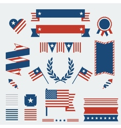 Independence Day ribbons badges and decorative vector image