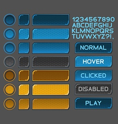 Interface buttons set for space games vector image