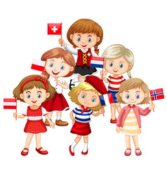 Kids holding flags from different countries vector