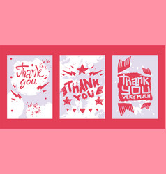 lettering thank you very much set cards vector image