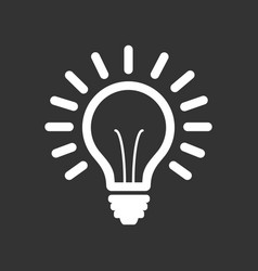 light bulb line icon isolated on black vector image