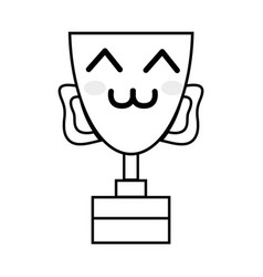 Line kawaii cute happy prize cup vector
