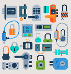 Lock door flat icons set security house vector