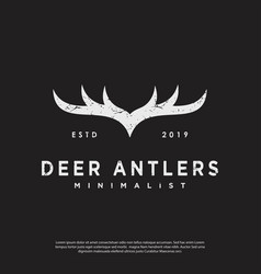 Logo vintage hipster deer antlers vector