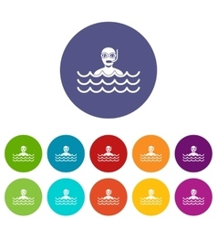 Man with scuba set icons vector image