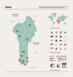 Map benin high detailed country map vector
